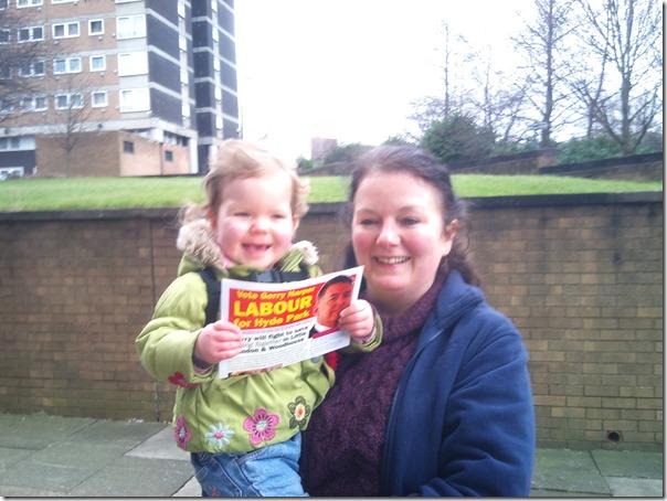 Karen Bruce campaigning for Gerry Harper