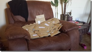 A less than neat pile of envelopes to go to Elmet and Rothwell members