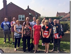 Yvette Cooper MP and Cllr Karen Bruce campaigning in Rothwell