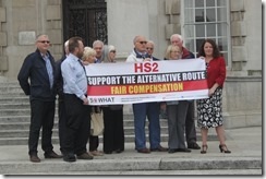Cllr Karen Bruce and Cllr David Nagle supporting local people campaigning against HS2 in Woodlesford