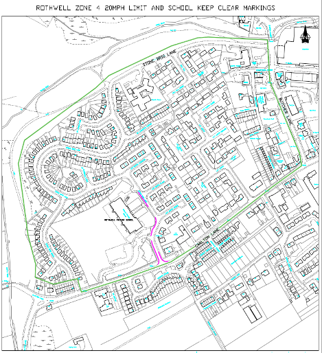 Rothwell Primary school 20mph zone map